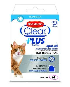 Bob Martin Clear Plus Spot On Solution For Cats & Ferrets  - 3 Pipettes