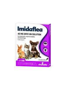 Imidaflea 40Gm Spot-On For Small Cats/Dogs/Rabbits Under 4Kg - 3 Pipettes