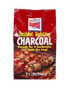 Fuel Express Instant-Light Lumpwood Charcoal 2 x 1kg bags