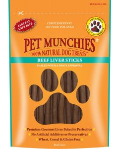 Pet Munchies Beef Liver Sticks - 90g - Beef Liver - Pack of 8