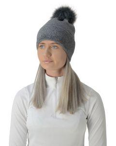 HyFASHION Alaska Diamante Bobble Hat - Grey/Black