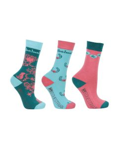 Hy Equestrian Thelwell Collection Children's Trophy Socks (Pack of 3) - Childs 8-12 - Mint/Pink/Teal